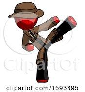 Red Detective Man Ninja Kick Right
