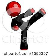 Red Clergy Man Ninja Kick Right