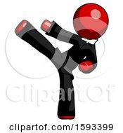 Red Clergy Man Ninja Kick Left