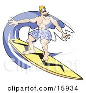 Muscular Blond Surfer Dude Riding A Wave With A Yellow Surfboard Clipart Illustration
