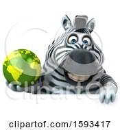 Clipart Of A 3d Zebra Holding A Globe On A White Background Royalty Free Illustration by Julos