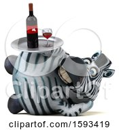 Clipart Of A 3d Zebra Holding Wine On A White Background Royalty Free Illustration by Julos