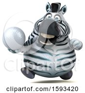 3d Zebra Holding A Golf Ball On A White Background