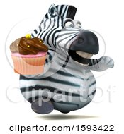 Clipart Of A 3d Zebra Holding A Cupcake On A White Background Royalty Free Illustration by Julos