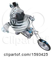 Clipart Of A 3d Zebra Riding A Chopper Motorcycle On A White Background Royalty Free Illustration by Julos