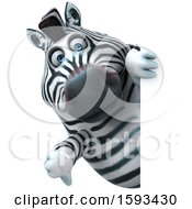 Clipart Of A 3d Zebra Holding A Thumb Down On A White Background Royalty Free Illustration by Julos