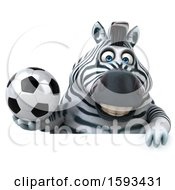 Clipart Of A 3d Zebra Holding A Soccer Ball On A White Background Royalty Free Illustration by Julos