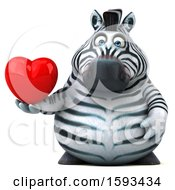 Clipart Of A 3d Zebra Holding A Heart On A White Background Royalty Free Illustration by Julos