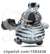 Clipart Of A 3d Zebra Holding A Camera On A White Background Royalty Free Illustration by Julos