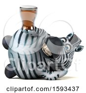 Clipart Of A 3d Zebra Holding A  On A White Background Royalty Free Illustration by Julos