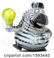 Clipart Of A 3d Zebra Holding A Light Bulb On A White Background Royalty Free Illustration by Julos