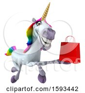 3d Unicorn Holding A Shopping Bag On A White Background