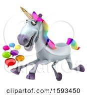 3d Unicorn Holding Messages On A White Background
