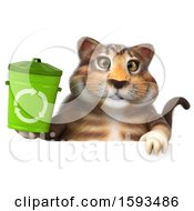 Clipart Of A 3d Tabby Kitty Cat Holding A Recycle Bin On A White Background Royalty Free Illustration by Julos