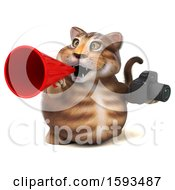 Clipart Of A 3d Tabby Kitty Cat Holding A Camera On A White Background Royalty Free Illustration by Julos