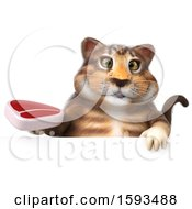 Clipart Of A 3d Tabby Kitty Cat Holding A Steak On A White Background Royalty Free Illustration by Julos