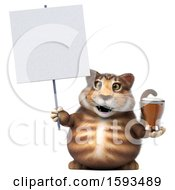 Clipart Of A 3d Tabby Kitty Cat Holding A Beer On A White Background Royalty Free Illustration by Julos