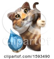 Clipart Of A 3d Tabby Kitty Cat Holding A Water Drop On A White Background Royalty Free Illustration by Julos