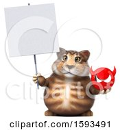 Clipart Of A 3d Tabby Kitty Cat Holding A Devil On A White Background Royalty Free Illustration by Julos