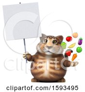 Clipart Of A 3d Tabby Kitty Cat Holding Produce On A White Background Royalty Free Illustration by Julos