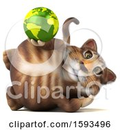 Clipart Of A 3d Tabby Kitty Cat Holding A Globe On A White Background Royalty Free Illustration by Julos