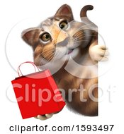 Clipart Of A 3d Tabby Kitty Cat Holding A Shopping Bag On A White Background Royalty Free Illustration by Julos