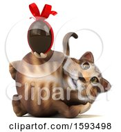 Clipart Of A 3d Tabby Kitty Cat Holding A Chocolate Egg On A White Background Royalty Free Illustration by Julos