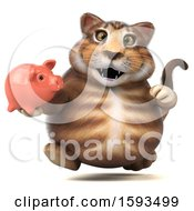 Clipart Of A 3d Tabby Kitty Cat Holding A Piggy Bank On A White Background Royalty Free Illustration by Julos