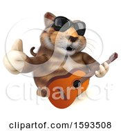 Clipart Of A 3d Tabby Kitty Cat Holding A Guitar On A White Background Royalty Free Illustration by Julos