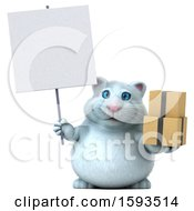 Clipart Of A 3d White Kitty Cat Holding Boxes On A White Background Royalty Free Illustration