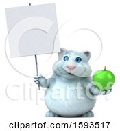 Clipart Of A 3d White Kitty Cat Holding An Apple On A White Background Royalty Free Illustration