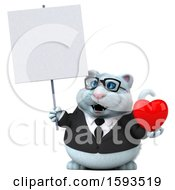 Clipart Of A 3d White Business Kitty Cat Holding A Heart On A White Background Royalty Free Illustration
