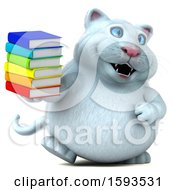 Clipart Of A 3d White Kitty Cat Holding Books On A White Background Royalty Free Illustration