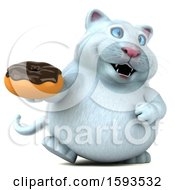Clipart Of A 3d White Kitty Cat Holding A Donut On A White Background Royalty Free Illustration
