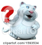 Clipart Of A 3d White Kitty Cat Holding A Question Mark On A White Background Royalty Free Illustration