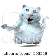 Clipart Of A 3d White Kitty Cat Holding A Wrench On A White Background Royalty Free Illustration