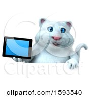 3d White Kitty Cat Holding A Tablet On A White Background