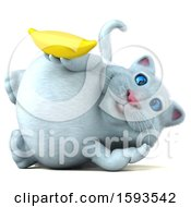 Clipart Of A 3d White Kitty Cat Holding A Banana On A White Background Royalty Free Illustration