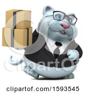 Clipart Of A 3d White Business Kitty Cat Holding Boxes On A White Background Royalty Free Illustration