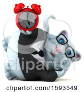Clipart Of A 3d White Business Kitty Cat Holding An Alarm Clock On A White Background Royalty Free Illustration