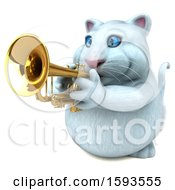 Clipart Of A 3d White Kitty Cat Holding A Trumpet On A White Background Royalty Free Illustration