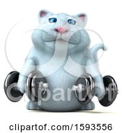 Clipart Of A 3d White Kitty Cat Holding Dumbbells On A White Background Royalty Free Illustration