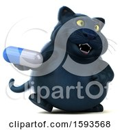 3d Black Kitty Cat Holding A Pill On A White Background