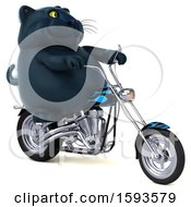 Clipart Of A 3d Black Kitty Cat Biker Riding A Chopper Motorcycle On A White Background Royalty Free Illustration