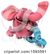 3d Pink Elephant Riding A Scooter On A White Background