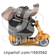 3d Business Elephant Riding A Scooter On A White Background