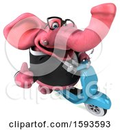 3d Pink Business Elephant Riding A Scooter On A White Background