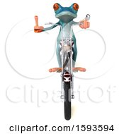 3d Blue Frog Biker Riding A Motorcycle Chopper On A White Background