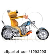 Clipart Of A 3d Yellow Frog Biker Riding A Chopper Motorcycle On A White Background Royalty Free Illustration