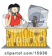 Poster, Art Print Of Shocked Female Receptionist Taking A Telephone Call While Seated In Front Of Her Computer At Her Office Desk